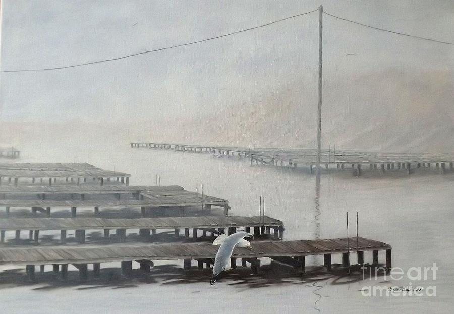Seascape Painting - The Docks by Gilles Delage