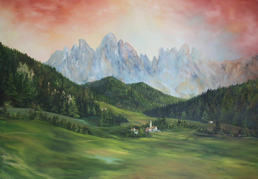 Dolomite Painting - The Dolomites Italy by Jean Walker