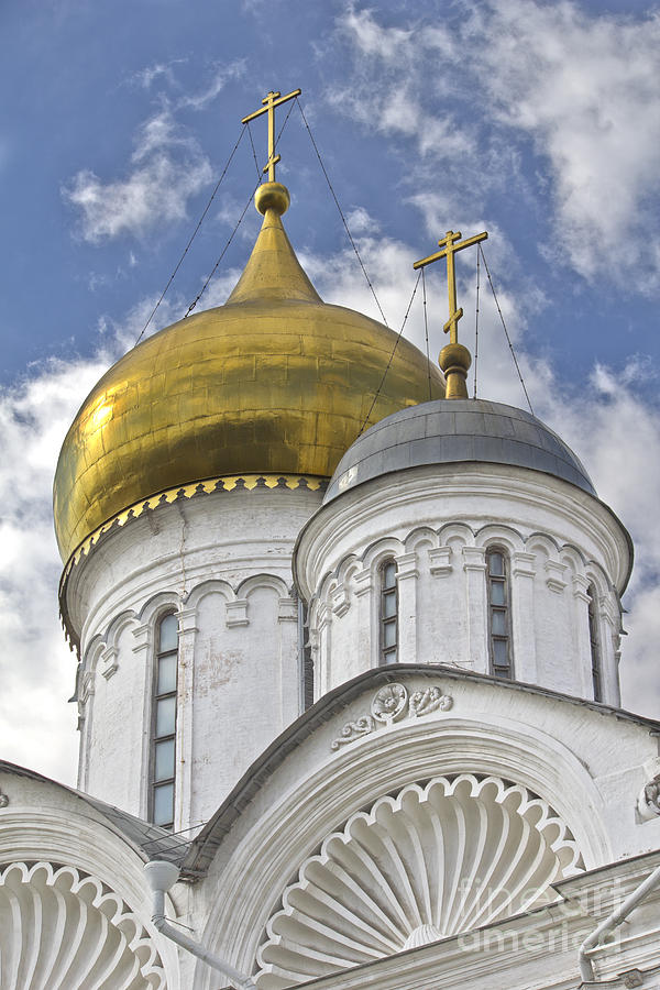 Kremlin Photograph - The Domes Of Archangel Cathedral by Elena Nosyreva
