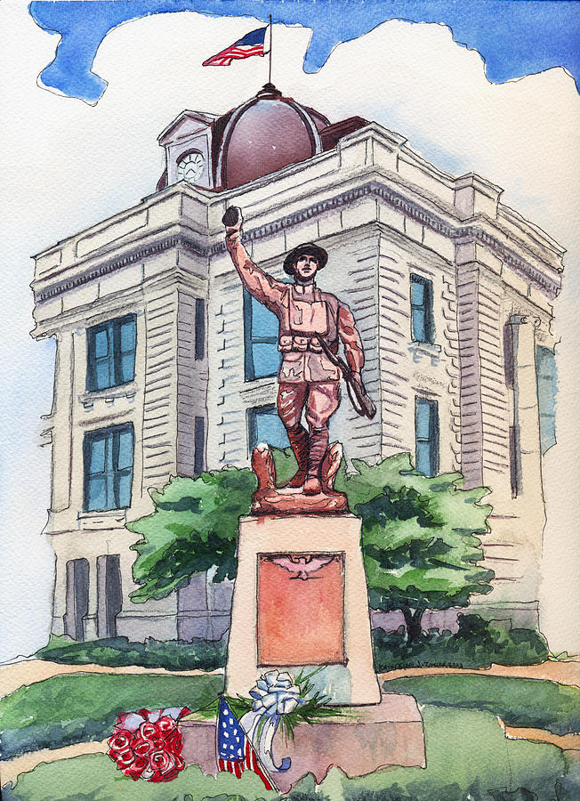 Doughboy Statue Painting - The Doughboy Statue by Katherine Miller