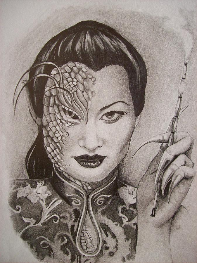 Asian Drawing - The Dragon Lady by Amber Stanford