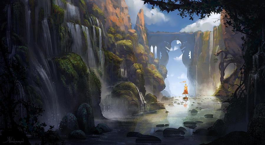 Landscape Painting - The Dragon Land by Kristina Vardazaryan