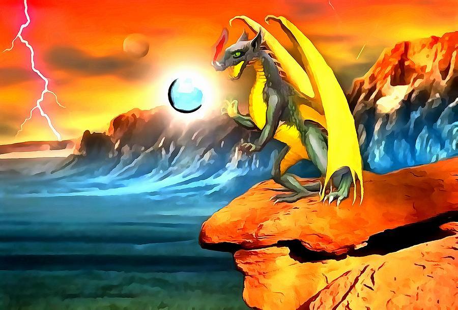 Dragon Digital Art - The Dragon Lands by Mario Carini