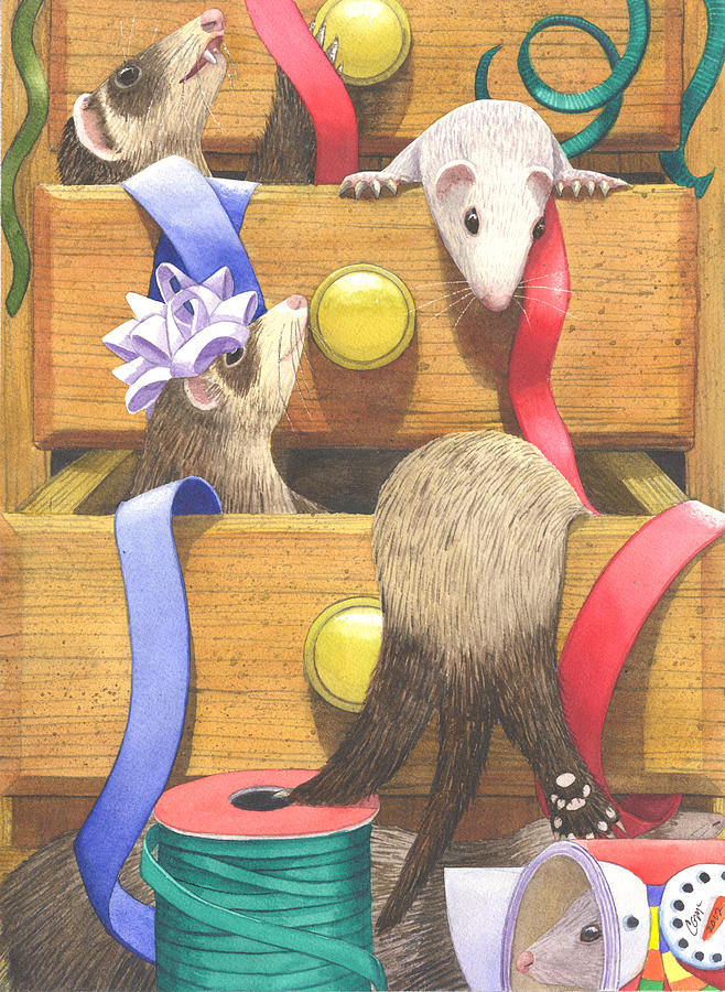 Ferrets Painting - The Drawers by Catherine G McElroy