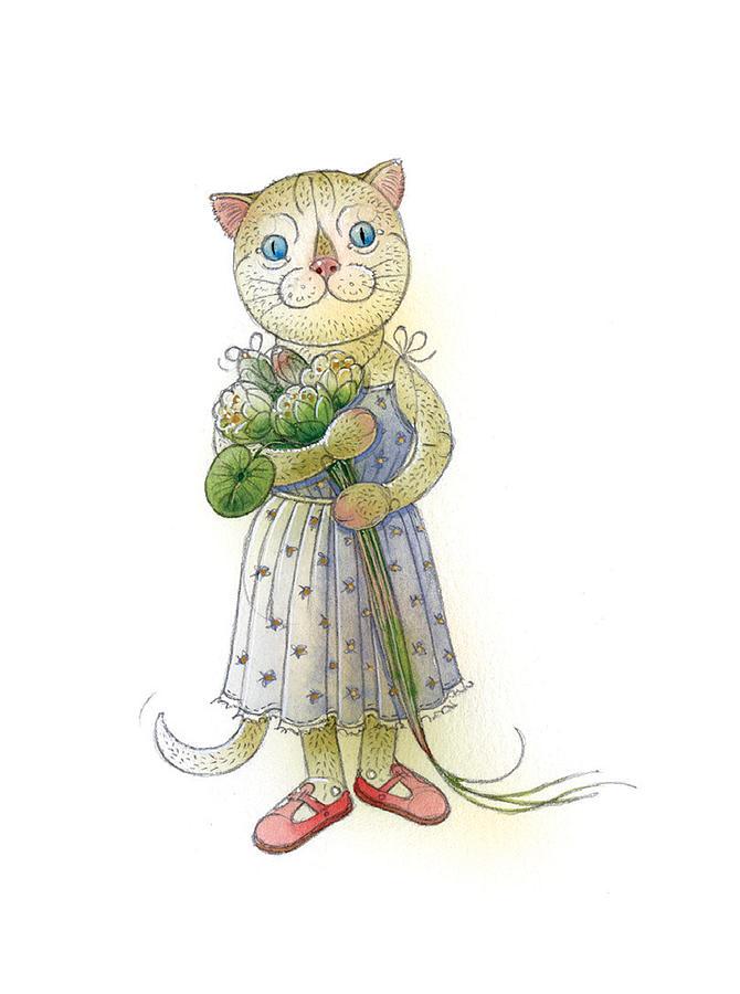 The Dream Cat 01 Painting by Kestutis Kasparavicius