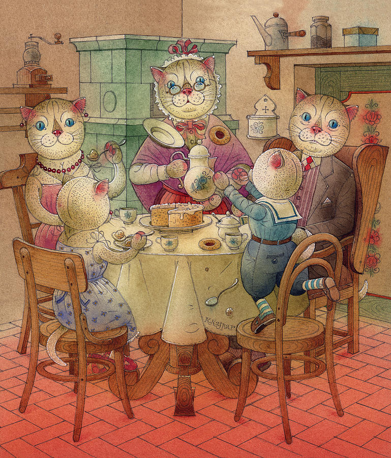 The Dream Cat 08 Painting by Kestutis Kasparavicius