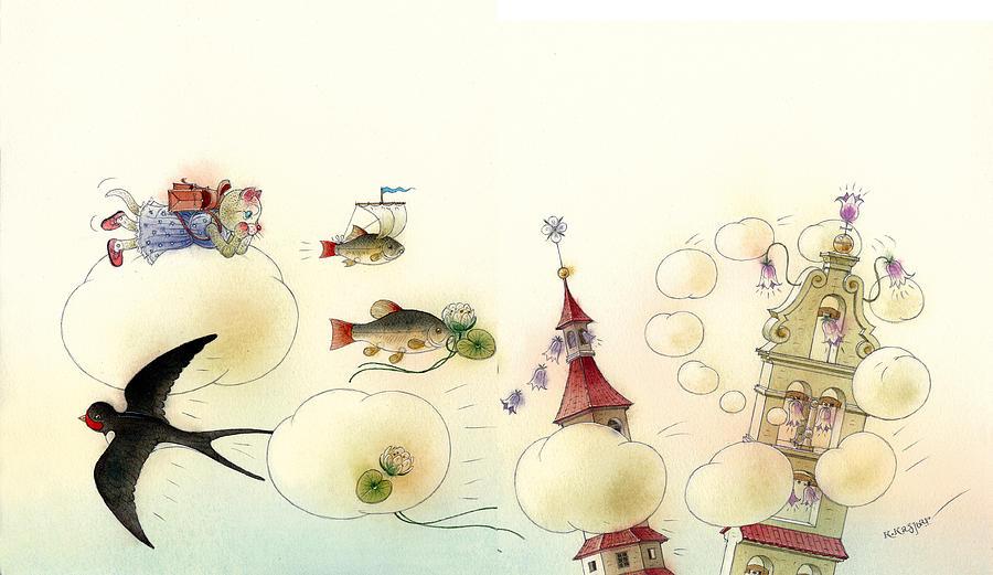 The Dream Cat 13 Painting by Kestutis Kasparavicius