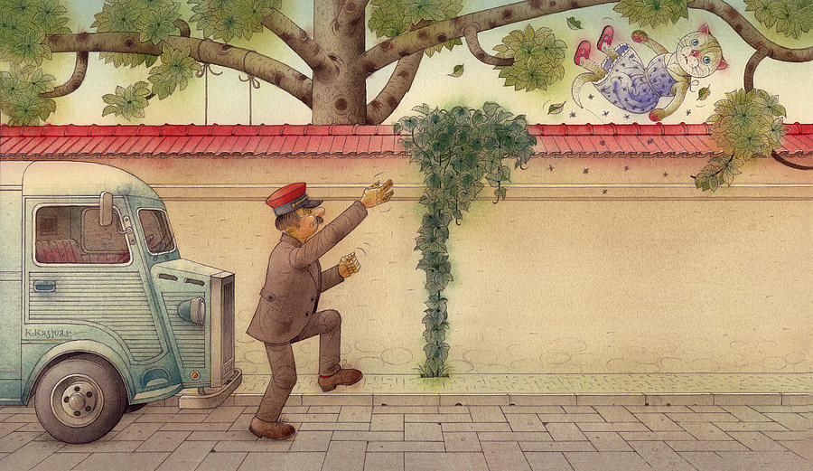 The Dream Cat 15 Painting by Kestutis Kasparavicius