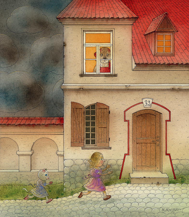 Cat Girl Fantasy Storm House Dog Red Black Street Painting - The Dream Cat 17 by Kestutis Kasparavicius