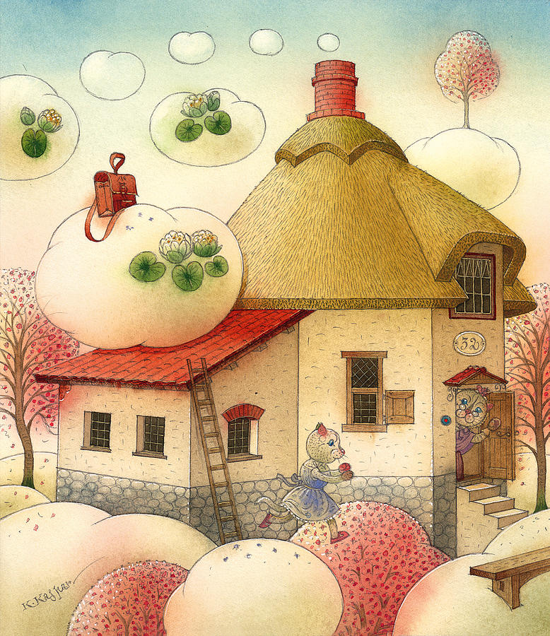 Clouds Sky White Blue Cat House Spring Morning Painting - The Dream Cat 28 by Kestutis Kasparavicius
