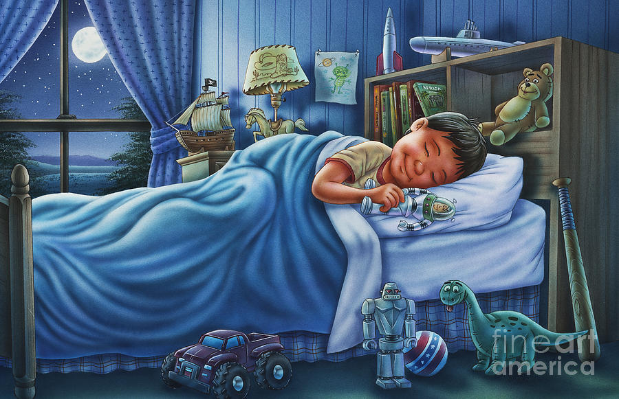 Sleeping Child Painting - The Dreaming Hero by Phil Wilson