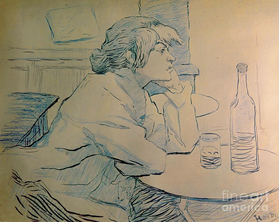 Toulouse-lautrec Painting - The Drinker Or An Hangover by Henri de Toulouse-lautrec