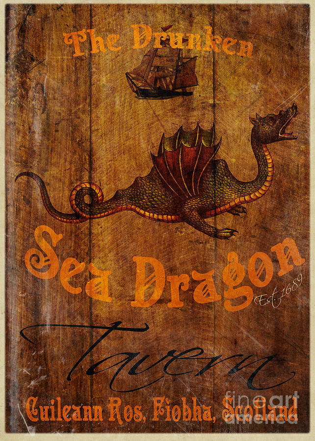 Pub Painting - The Drunken Sea Dragon Pub Sign by Cinema Photography