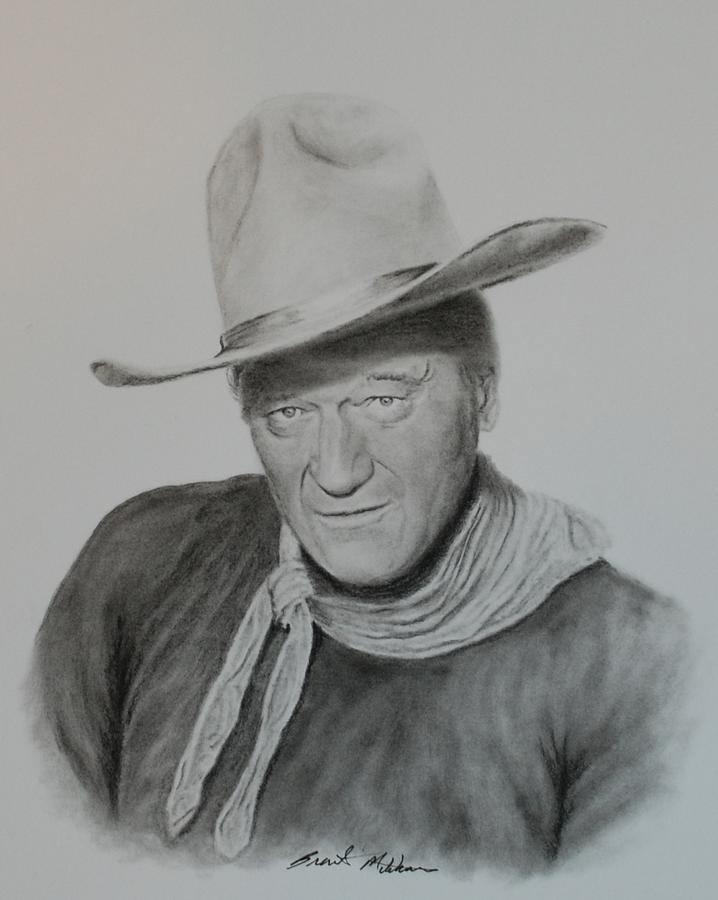 John Wayne Drawing - The Duke by Brent  Mileham