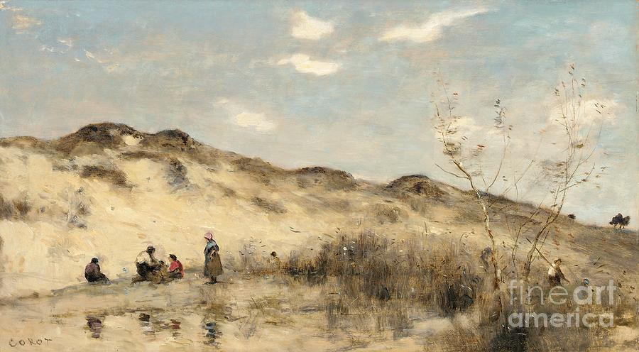 Dune; Dunes; Sand Dune; Sand Dunes; Beach; Coast; Coastal; Seaside; Barbizon; Dunkirk; Dunkerque; Landscape; France; French; Figures Painting - The Dunes Of Dunkirk by Jean Baptiste Camille Corot