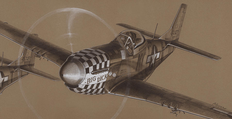 P-51 Mustang Drawing - The Duxford Boys Drawing by Wade Meyers