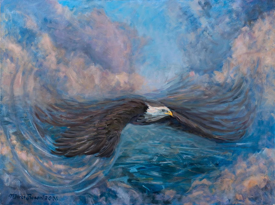 Eagle Fly Flight Cloud High America Painting - The Dynamic Of Flight by Marco Busoni
