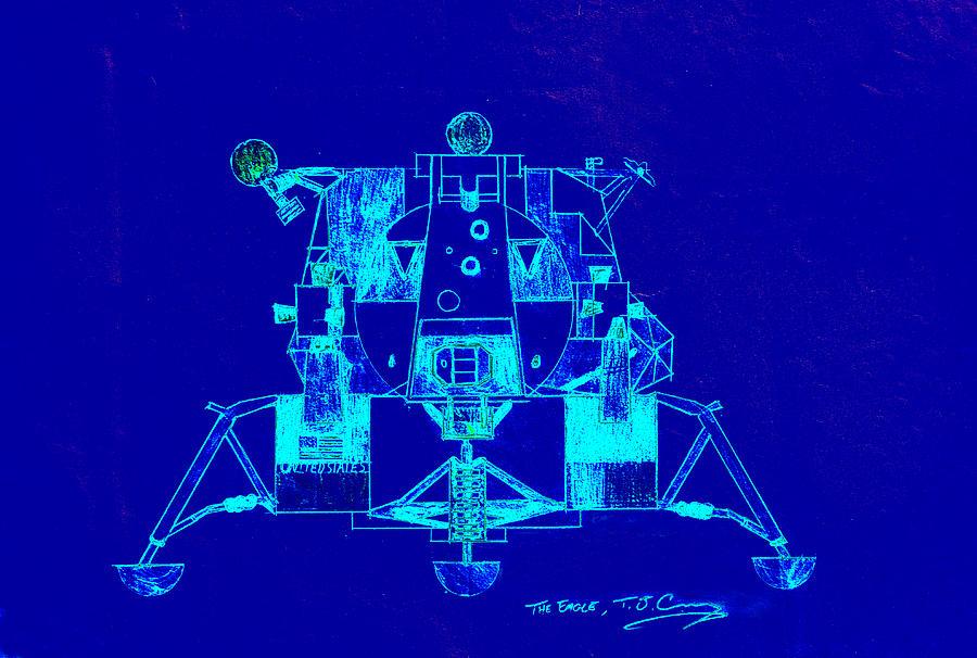 Blue Digital Art - The Eagle Apollo Lunar Module In Blue by Tom Conway