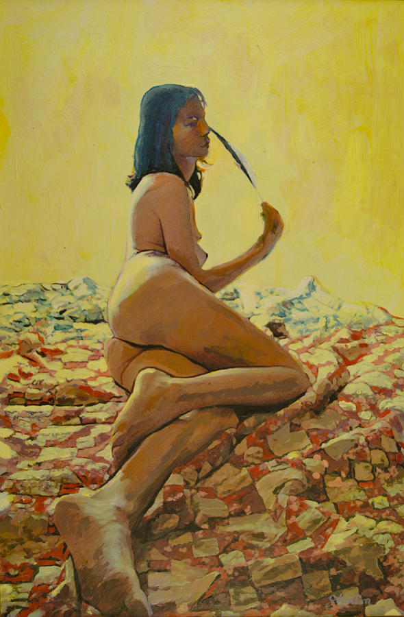 Nude Painting - The Eagle Feather by Thomas Stratton