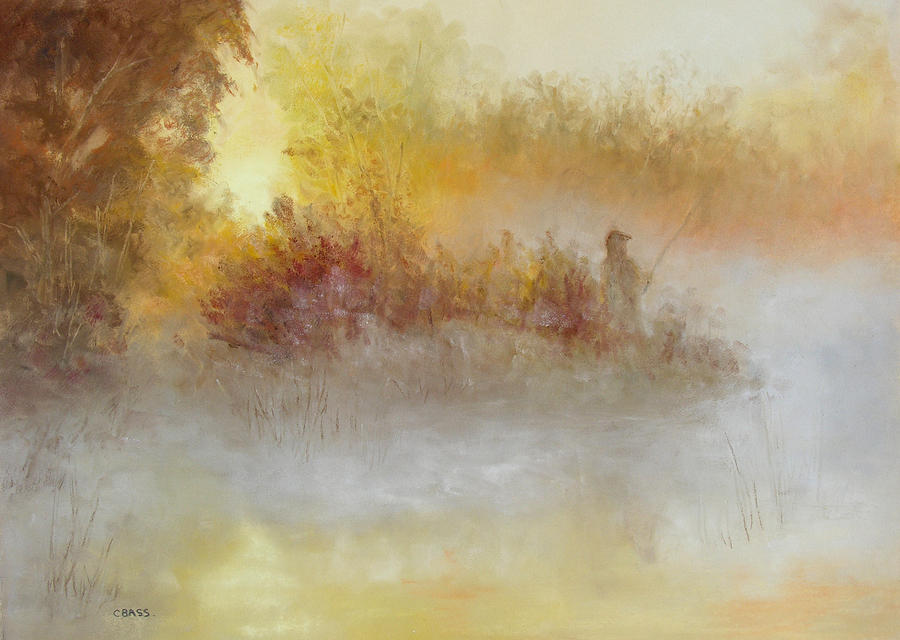 Fishing Painting - The Early Bird by Christine Bass