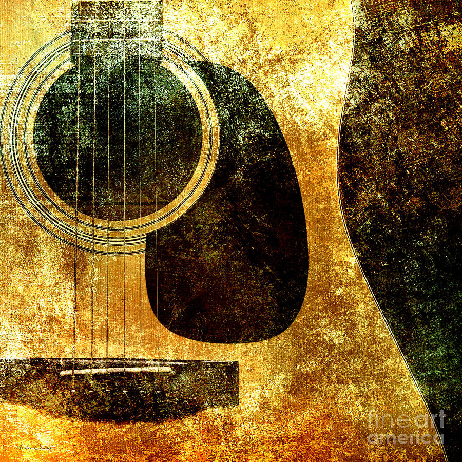 Abstract Digital Art - The Edgy Abstract Guitar Square by Andee Design