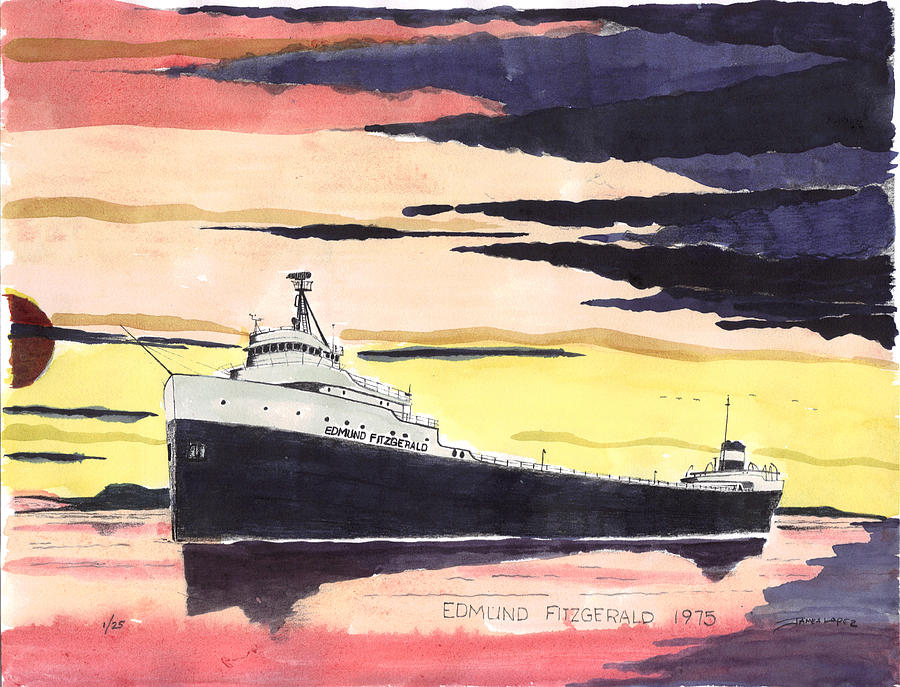 Freighter Painting - The Edmond Fitzgerald by James Lopez