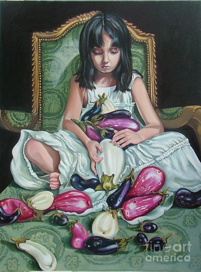 Young Girl Painting - The Eggplant Princess by Shelley Laffal