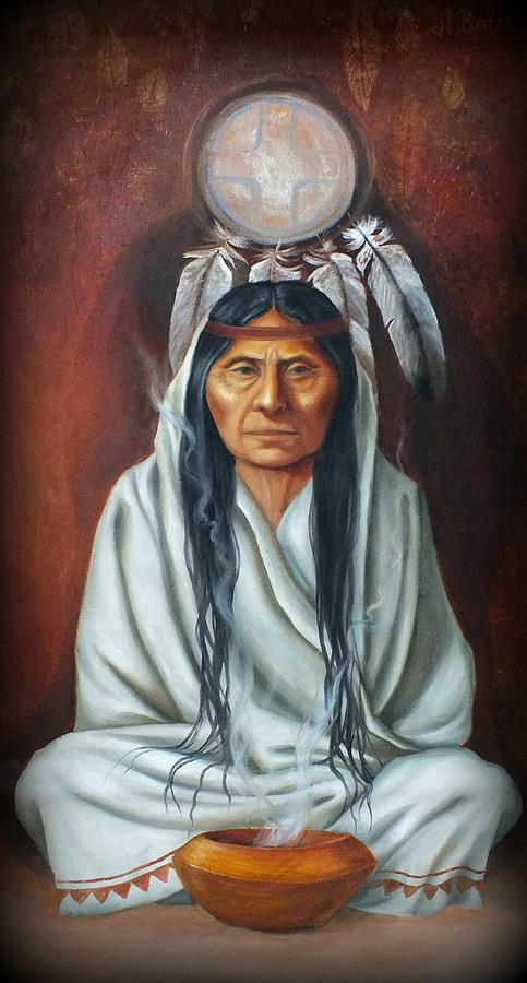 Native American Painting - The Elder by Alejandra Baiz