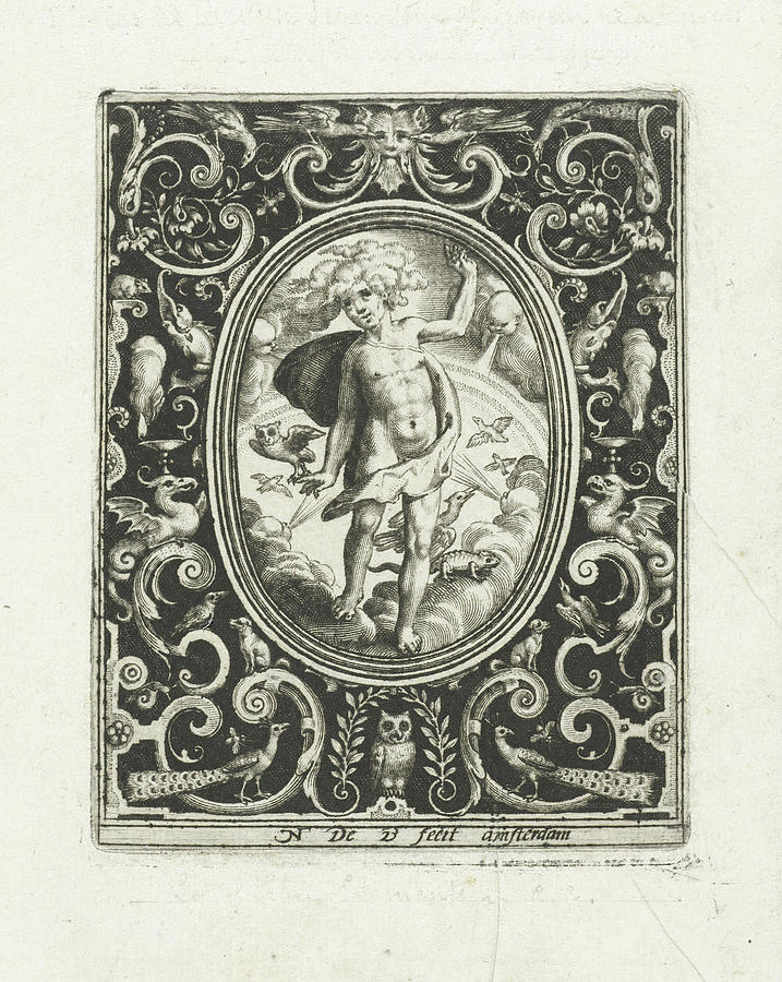 Elements Drawing - The Element Of Air As A Young Man Standing On Clouds by Nicolaes De Bruyn