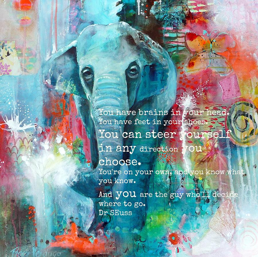 Dr Seuss Photograph - The Elephant and the Butterfly DrSeuss quote by Tracy Verdugo