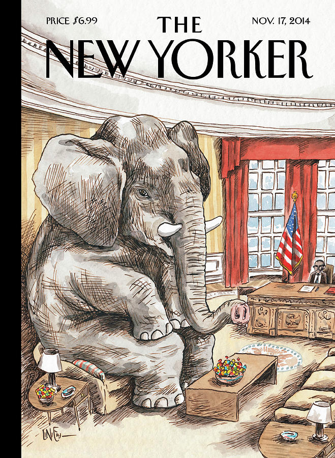 The Elephant In The Room Painting by Ricardo Liniers