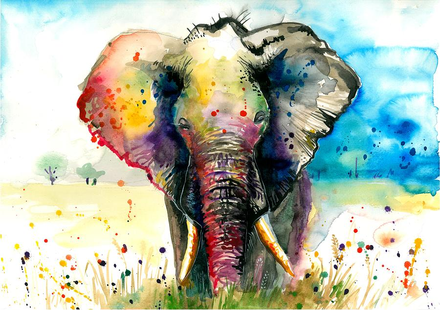 The Rainbow Elephant - Xxl Format Art Print Painting