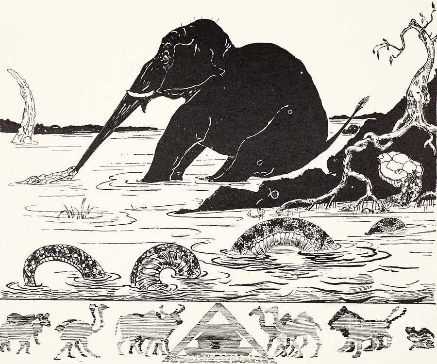 Roots Drawing - The Elephants Child Having His Nose Pulled By The Crocodile by Joseph Rudyard Kipling