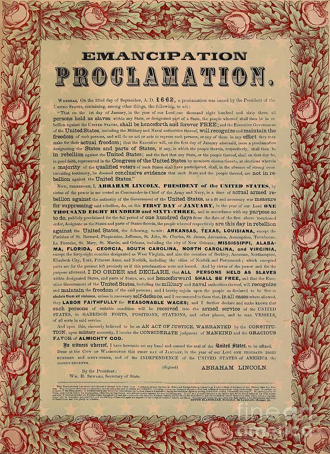 Civil War; Liberation; Freedom; Document; Proclamation Drawing - The Emancipation Proclamation by American School