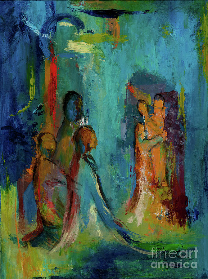 Abstract Painting - The Embrace by Larry Martin