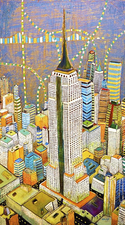 Nyc Painting - The Empire of Manhattan by Habib Ayat