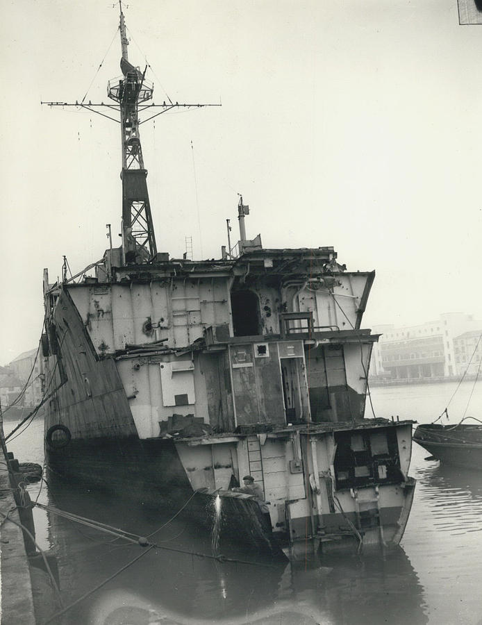 Retro Photograph - The End Of A Brave Little Ship. H.m. S. Amethyst In by Retro Images Archive