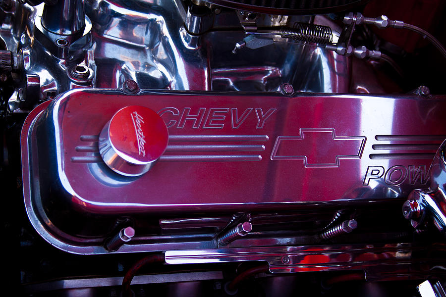 56 Photograph - The Engine In A 1956 Chevy Bel Air Custom Hot Rod by David Patterson