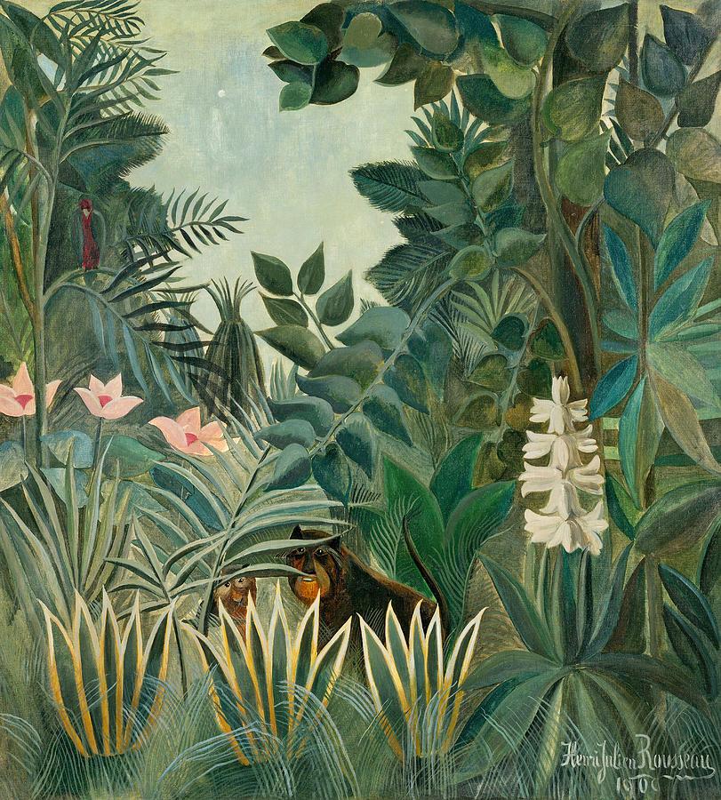 Henri Rousseau Painting - The Equatorial Jungle by Henri Rousseau