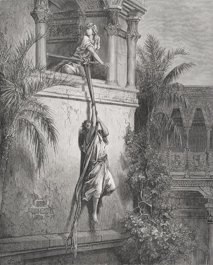 Celia Painting - The Escape Of David Through The Window by Gustave Dore