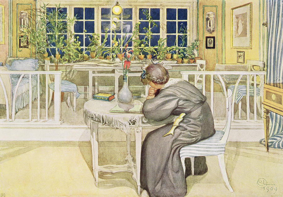 Thoughtful Painting - The Evening Before The Journey by Carl Larsson