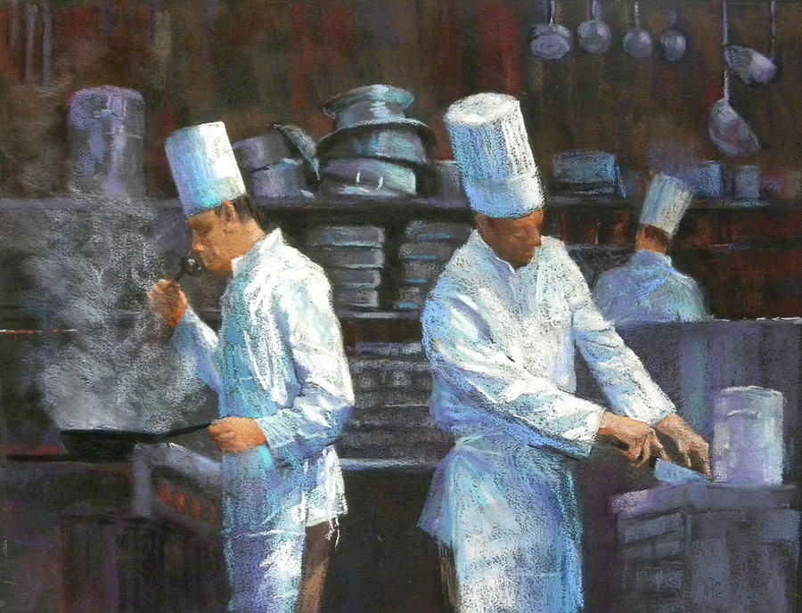 In The Kitchen Painting - The Evening Shift by Jackie Simmonds