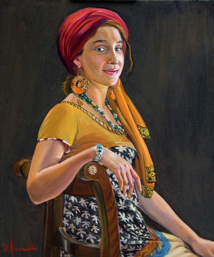 Portrait Painting - The Exotic Girl by Dominique Amendola