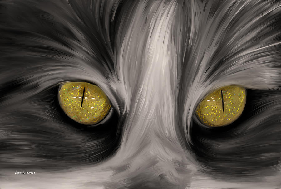 Cat Painting - The Eyes Have It by Angela A Stanton