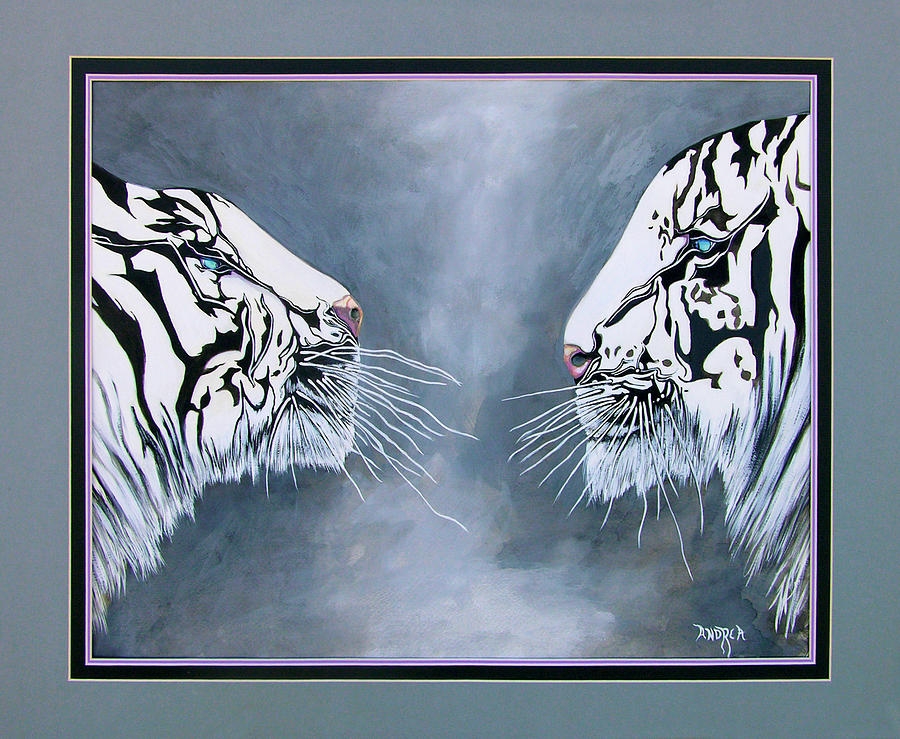 White Tigers Painting - The Face Off by Andrea Camp
