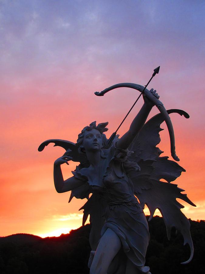 Statue Photograph - The Fairie Archer by Denise   Hoff