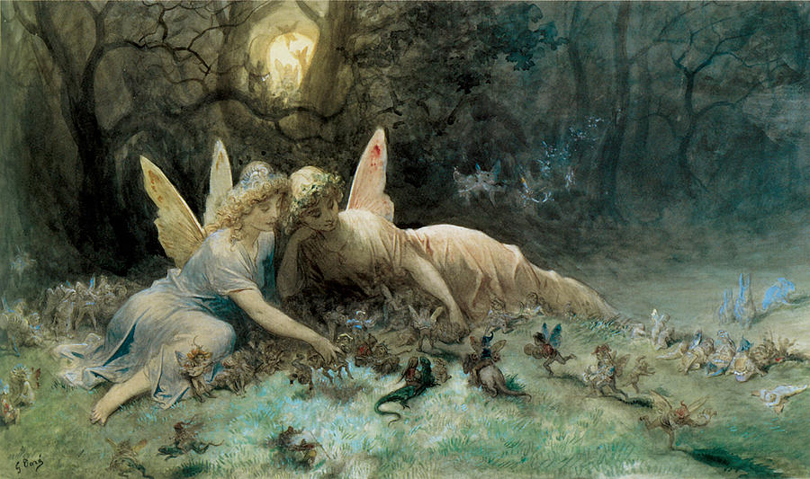 Gustave Dore Digital Art - The Fairies From William Shakespeare Scene by Gustave Dore