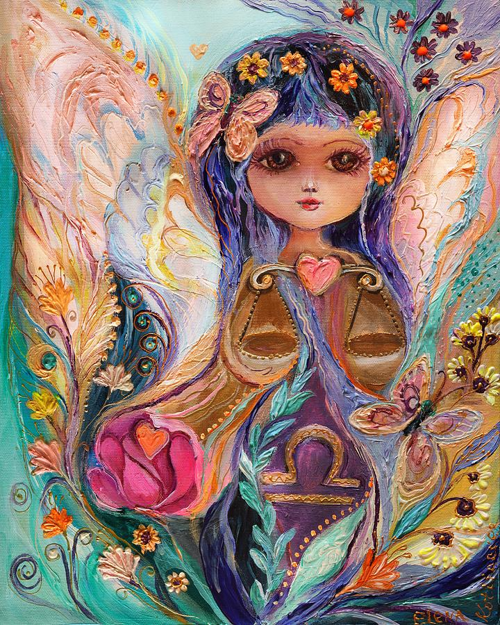 Good Luck Charm Painting - The Fairies Of Zodiac Series - Libra by Elena Kotliarker
