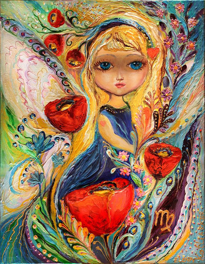 Blue Eyed Girl Painting - The Fairies Of Zodiac Series - Virgo by Elena Kotliarker