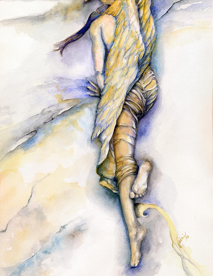 Angel Painting - The Fall by Nadine Dennis